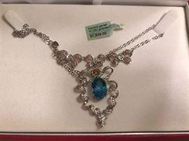 Diamond garnet gold Necklace