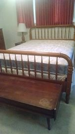 Queen size bed with spindle head and footboard