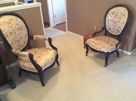 2 ANTIQUE BALLOON CHAIRS