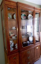 LIGHTED CABINET FULL OF HAND PAINTED ANTIQUE AND VINTAGE PRETTY PIECES