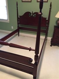 "Full size mahogany bed frame. Measures about:  56"" wide, 61"" high, 80"" long"