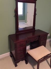 "Mahogany vanity - mirror and bench.  Measures about 30"" high,  17"" deep, 46"" wide."