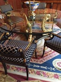 """Custom LaBarge table and chairs - rug not for sale. Glass measures about 66"""" in diameter"""
