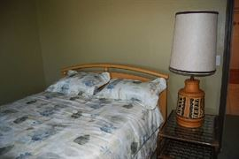 Queen Bed, side table, table lamp