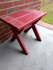 Chippy red stool.  Love the color!