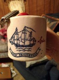 Old old spice mug with brush and razor