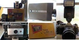 Retro and antique cameras: Canon, Polaroid.  Film and super 8 movie