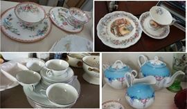 Porcelain and China: Tea pots, coffee pots, pitchers, cups and saucers, desert sets, plates, trays, bowls, hostess sets, platters,