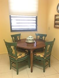 Ethan Allen table, antique rush chairs