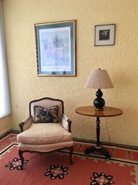 Stuffed Arm Chair, Dhurrie rug,  William Buffet print