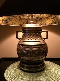 Asian brass urn lamp