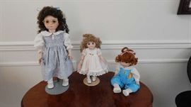 HAND PAINTED COLLECTIBLE DOLLS. MARY LOU RICH..PATCHES... JULIE.... BEVERLY