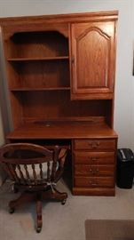 SOLID OAK MEDIA SYSTEM AMOIRE. ANTIQUE OFFICE  CHAIR PRICED SEPERATELY
