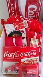 Variety of Coke collectibles