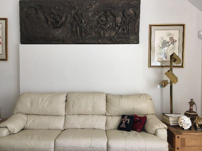 Sleeper Sofa, Albert Earl Gilbert Signed Owl Print
