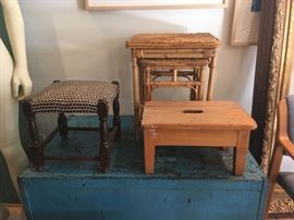 vintage stools & occasional tables