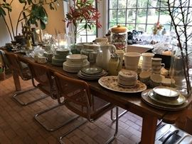 Haddon Hall  and Wedgewood China, vintage blue & white and brown & white china, McCoy and other American pottery, crystal, silver, vintage glassware
