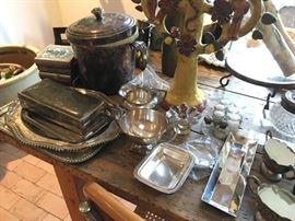 Silver and pewter trays, box, ice bucket, cream & sugar, salt & pepper shakers