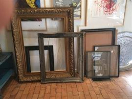 Gorgeous large gold frame, smaller vintage gold frames plus other frames including new Ikea frames