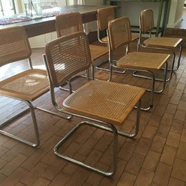 Set os 6 gorgeous Italian Marcel Breuer 'Cesca' Chairs Chrome and Cane Dining Chairs / Wonderful condition with chair seats needing to be re-caned.  LOVE THEM but no room as we move!!
