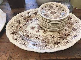 Vintage Brown & white dinnerware