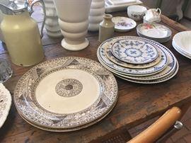 Vintage Brown & white & blue & white dinnerware