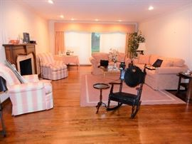 Antique Stunning Rocker, Area Carpeting, Stickley silk upholstered chair, Century Sofa and Love Seat, Baker Tables Oh la la