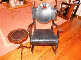 This incredible Leather and wood rocker is a true beauty and a lovely antique for your home, let's not forget to mix the antiques with the modern for a true showcase home