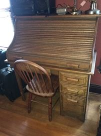 vintage roll top desk and Windsor chair