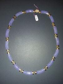 Purple Jade With 14K Gold