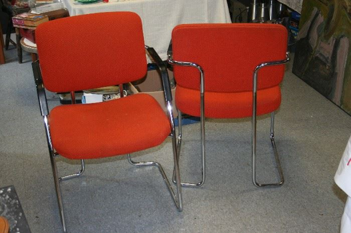 Set of 8 Signed Mid Century Modern Wool & Chrome Dining chairs