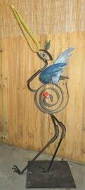 Abstract Cast Metal Egret Heron Bird Yard Sculpture