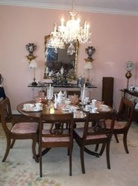 Mahogany dining suite w/lyre back chairs, crystal chandelier