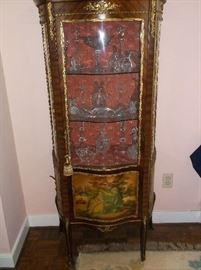 French vitrine cabinet w/Waterford crystal