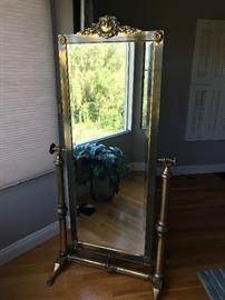 Victorian Brass Standing Mirror