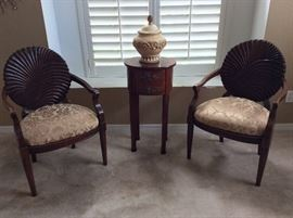 Upholstered Wooden Arm Chairs.