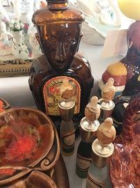 Vintage Kahula bottle; vintage Sake Bottles (4)