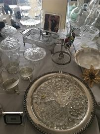 Silver platters & crystal