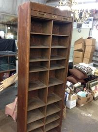 oak bookcase with roll down door