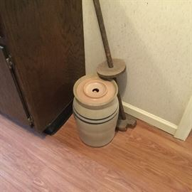 Antique butter churn with paddle