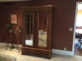 Antique oak knockdown wardrobe with glass doors