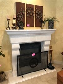 Art, decor, fireplace screen and tools