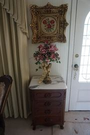 Artwork with Ornate frame, marble topped side table