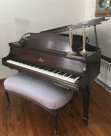 Janssen baby grand piano with player piano installed
