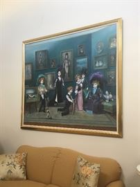 Large original oil painting of 19th century dolls by Mary Rose Palou