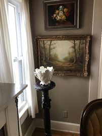 Oil paintings and antique carved mahogany plant stand