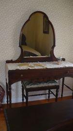 very nice walnut vanity and mirror