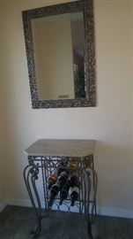 Foyer Table. Stone & Metal with Wine Storage & Wall Mirror