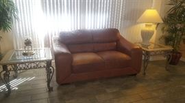 Love Seat & 2 End Tables + Misc