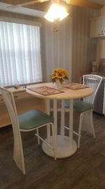 Cafe Style Kitchen Hi-Top Table & 2 Chairs with Aqua Seats